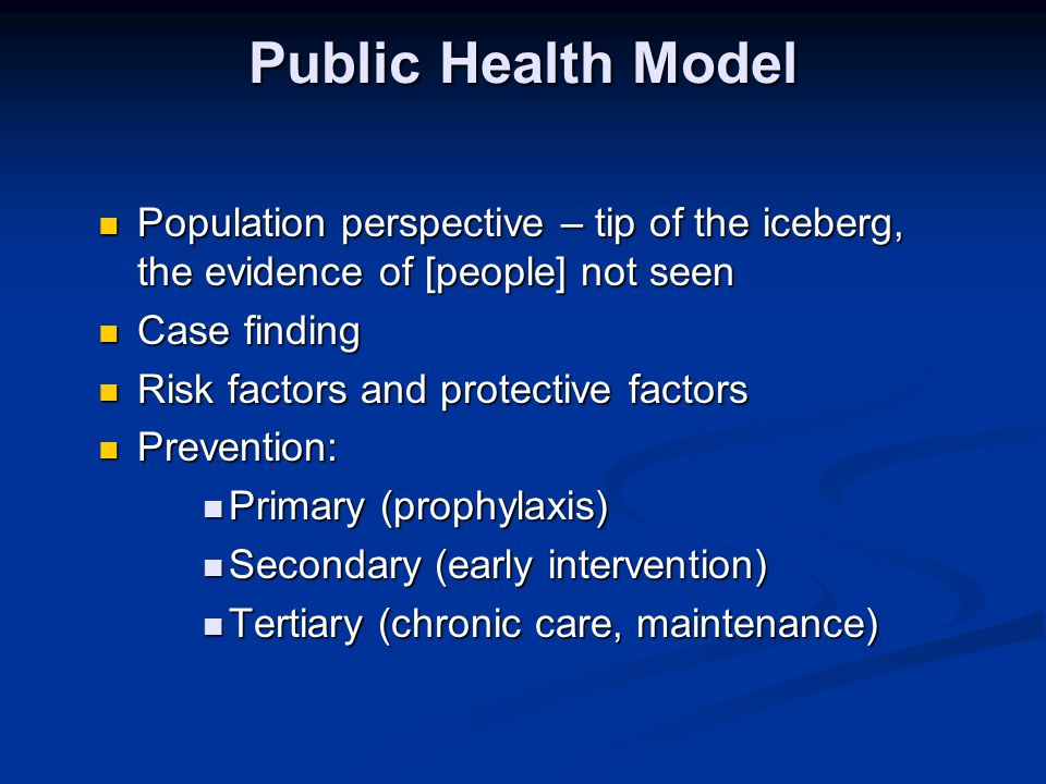 Public Health Model Population perspective – tip of the iceberg, the evidence of [people] not seen.